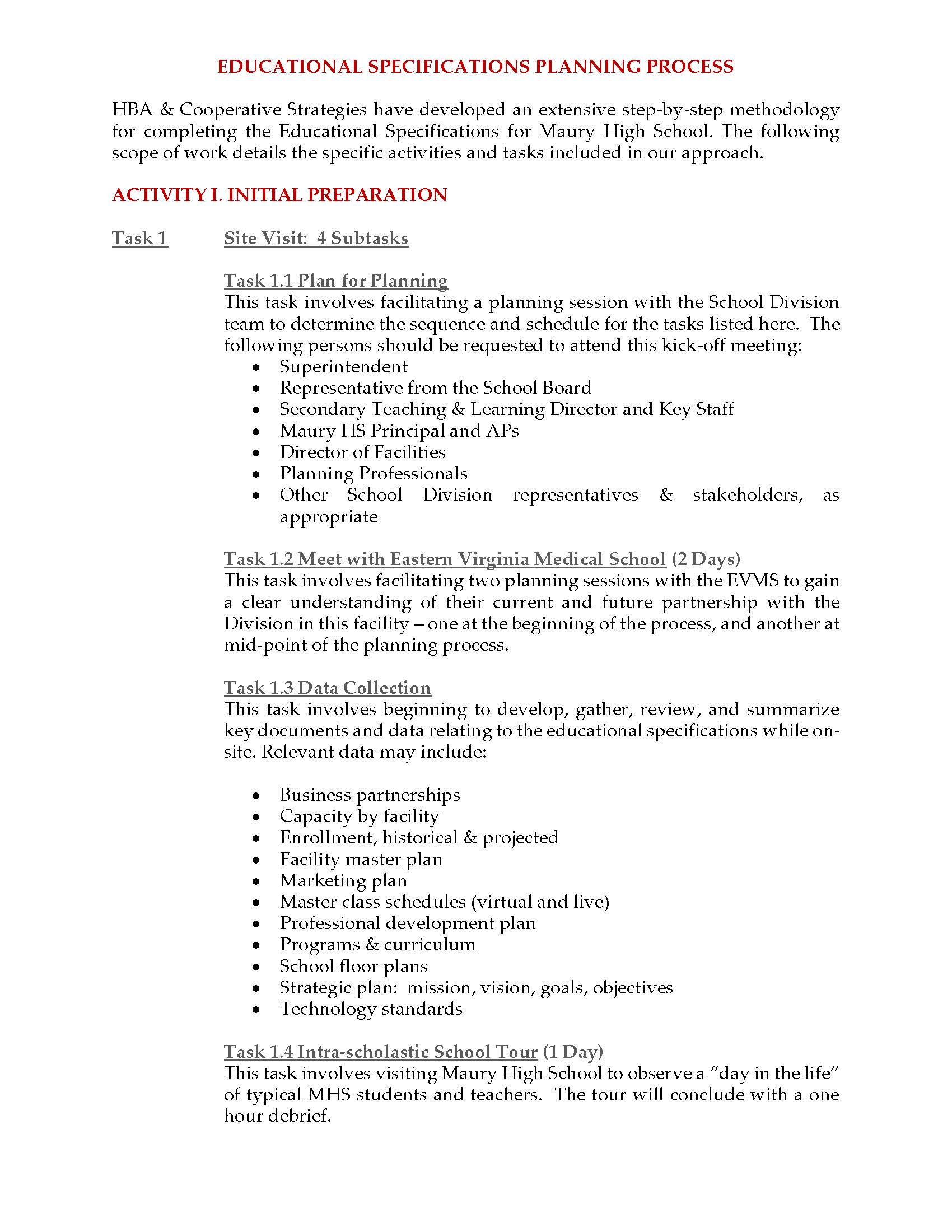 Maury High School Educational Specifications | Just another